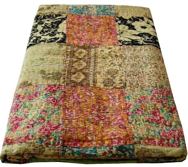 GORGEOUS KANTHA HANDMADE PATCHWORK QUEEN INDIAN THROW QUILT BEDSPREADS BEDCOVER in Home & Garden, Bedding, Quilts, Bedspreads & Coverlets | eBay