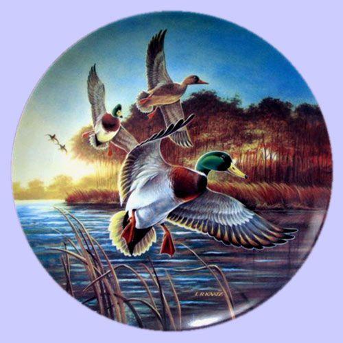 Classic Waterfowl: Ducks Unlimited - Mallards at Sunrise - WS George Plate - Artist: Lynn Kaatz