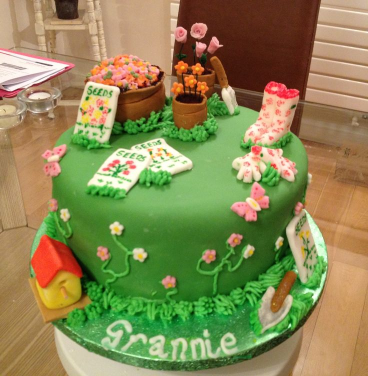 Gardening themed cake garden themed cake ideas for Gardening 80th birthday cake