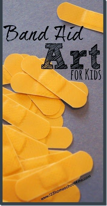 More examples of band-aid art (idea from the curriculum)