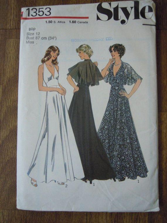 1970s+halter+maxi+dress+pattern+1973 | Vintage 1970s Style Sewing Pattern Halter Maxi by FoxVintageUk, £2.98