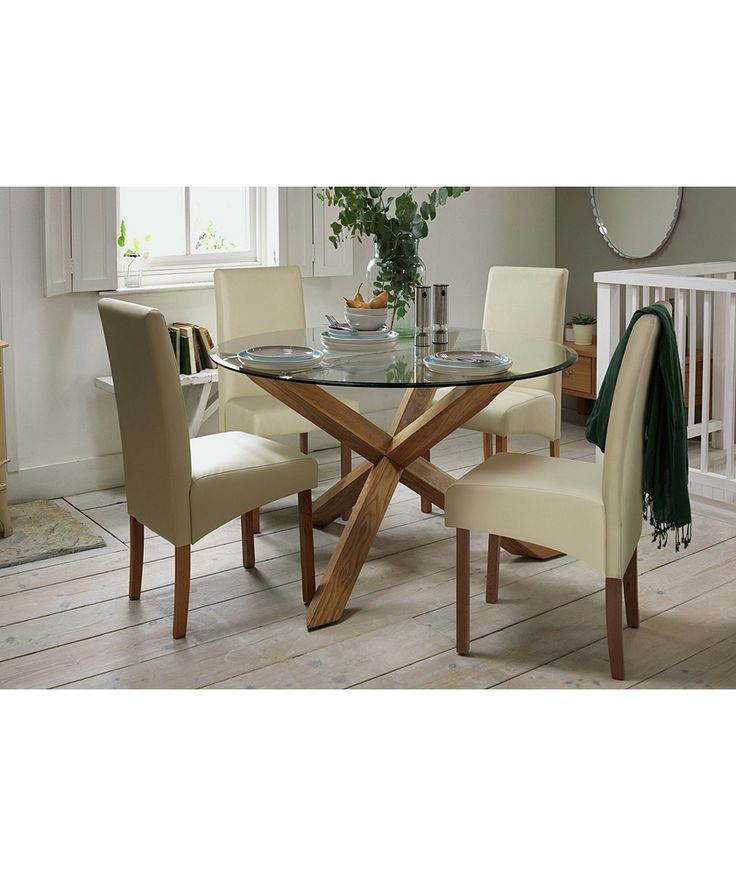 Buy Heart of House Oakington Solid Oak and Glass Dining Table at Argos.co.uk - Your Online Shop for Dining tables.