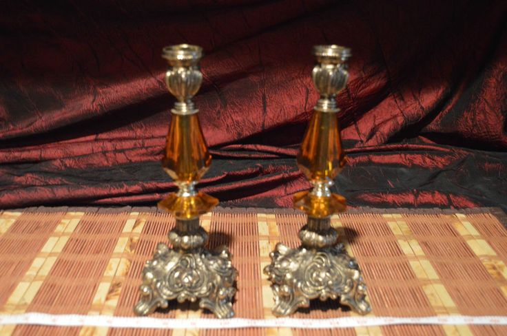 Vintage Footed Brass Candle Stick Holders With Amber Accent