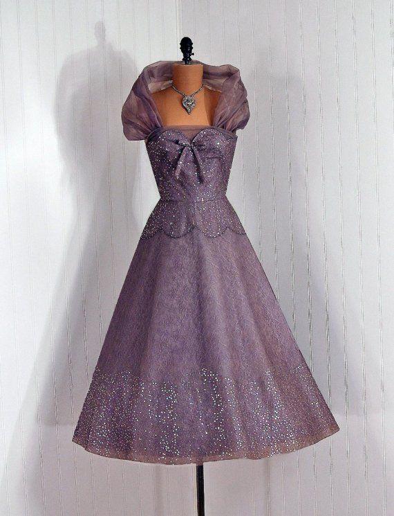 1950's Vintage Mauve PurpleGray Illusion by TimelessVixenVintage