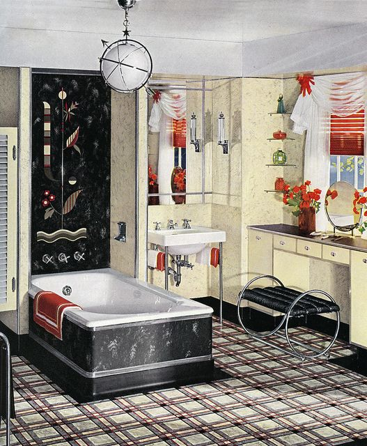 17 best images about art deco interiors on pinterest art for Small art deco bathroom ideas