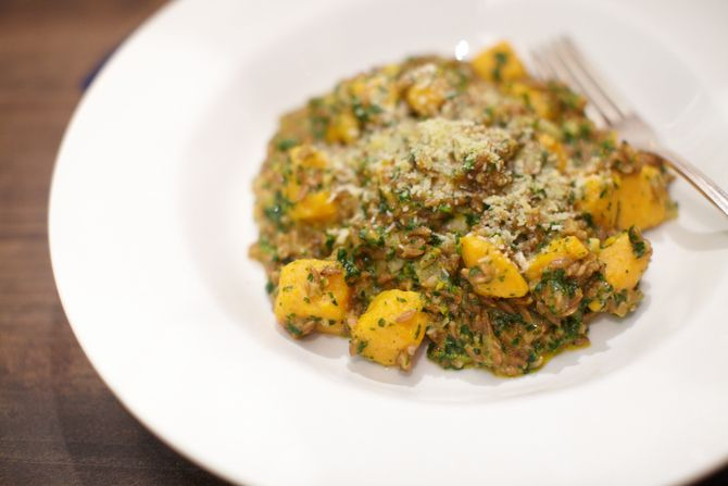 Farro Risotto with Spinach and Basil Pesto and Sweet Potato. Visit ...
