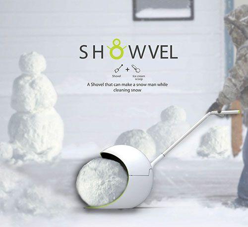 snowvel1:デザイナー、Arah Ko氏、Jungsun Park氏、Hyejin Kim氏の3名によって考案された、雪かきしながら雪だるまが同時に作れるシャベルです。