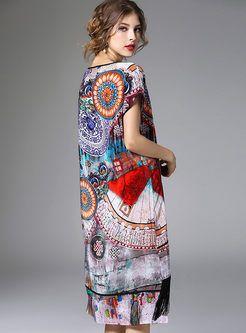 Ethnic Multicolor Print Tassel Patch Loose Dress