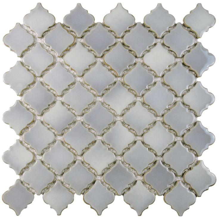 The SomerTile 13x13.375-inch Antaeus Grey Eye Porcelain Mosaic Floor and Wall Tile is a timeless vintage lantern shape and features a soft grey glaze and high gloss sheen -- Overstock.com