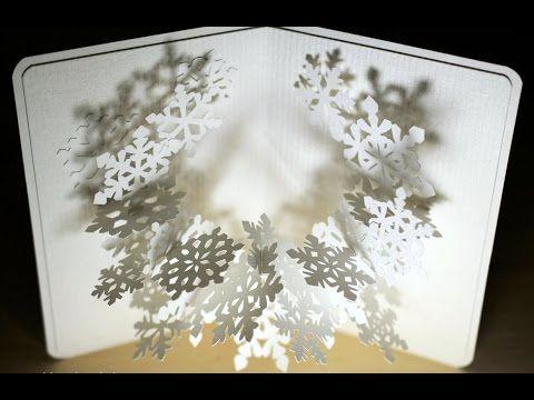 Открытка раскладушка с объемной снежинкой