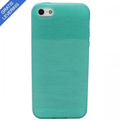 Blågrønt iPhone 5/5S Cover Med Trælook Design