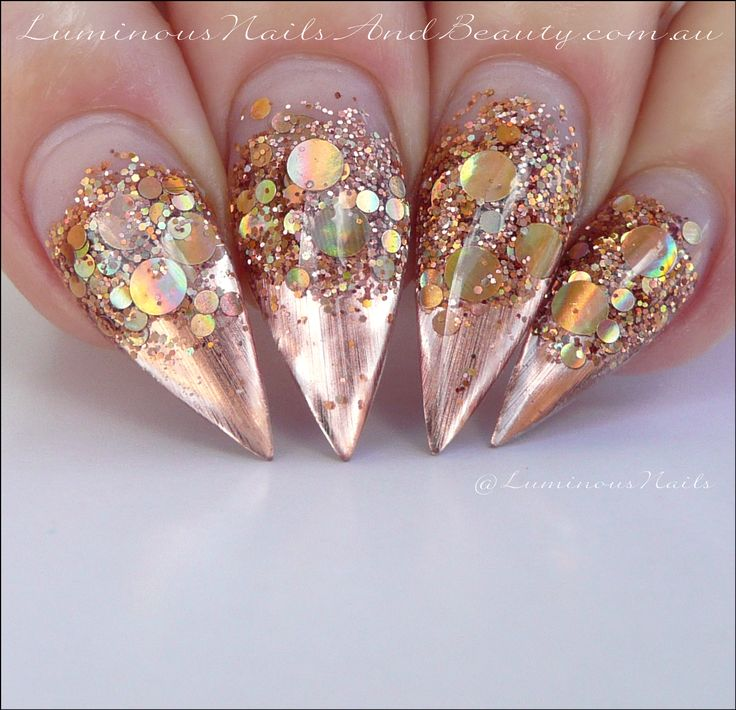 Rose Gold Chrome Holographic Sculptured Acrylic Stiletto Nails