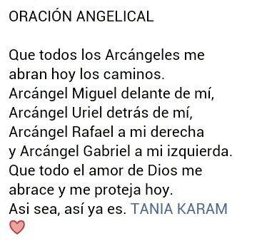 Oración Angelical. Vía Tania Karam.
