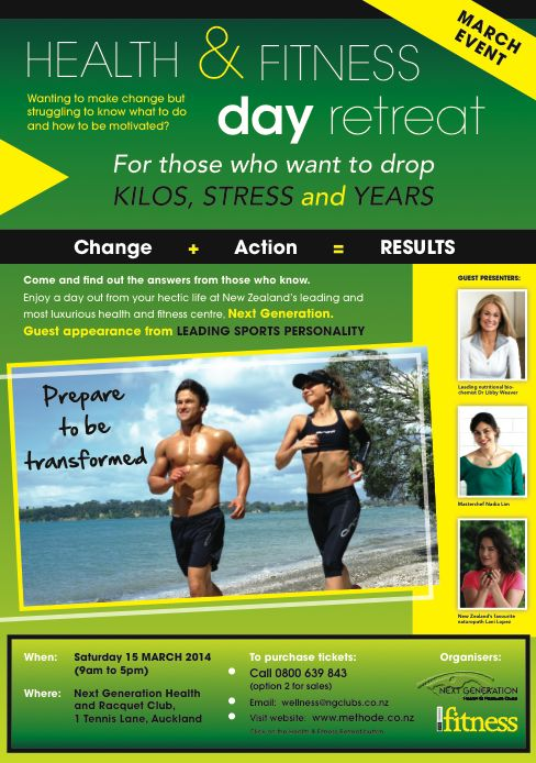 Book your ticket today [email:  info@methode.co.nz] and receive a FREE copy of the latest issue of New Zealand Fitness magazine.