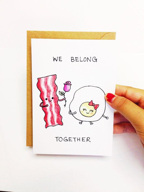 Funny anniversary card for boyfriend, Funny card for best friend, boyfriend card, we belong together, bacon and egg card, hand drawn card