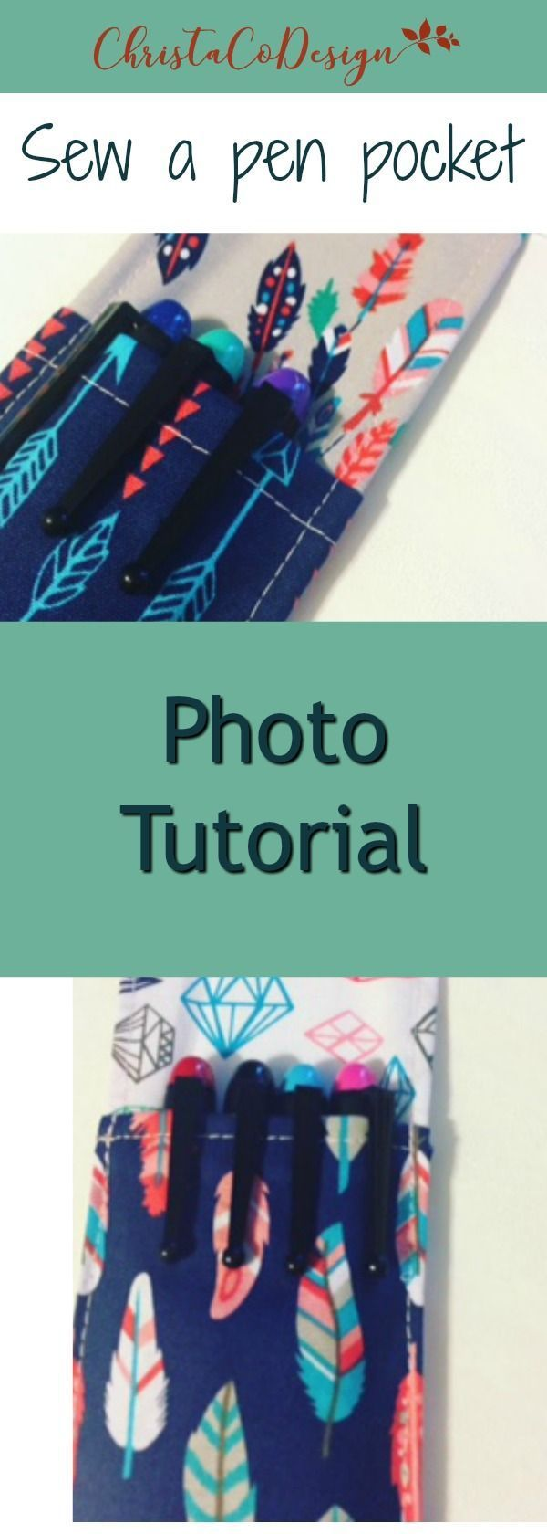 Sew a pen pocket for your notebook | great teacher gift