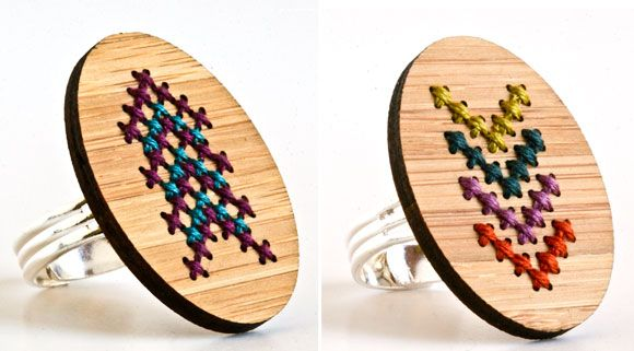 embroidered rings from Susan of Red Gate Stitchery http://www.etsy.com/shop/RedGateStitchery #stitching #accessories #crafts
