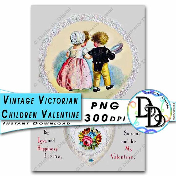 Victorian Children Printable Valentine's Day Card Vintage Clipart Commercial Use Graphic Digital Clip Art Instant Download File by DistinctlyDigital