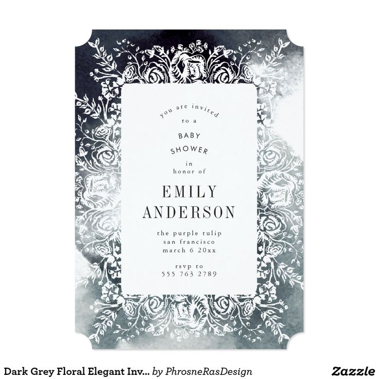 Dark Grey Floral Elegant Invitation in Watercolor #zazzle #invitation #stationery #tabletop #flowers #floral #organic #original #illustration #designer #suite #elegant #stylish #phrosneras #phrosnerasdesign #calligraphy
