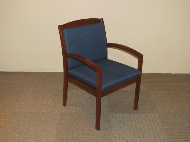 Cherry Wood Guest Chair W/ Blue Fabric Seat And Back