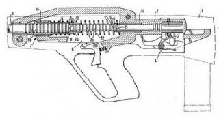 Steyr ACR action drawing from Steyr patent gas piston in forward position, breech block with chamber in upper position