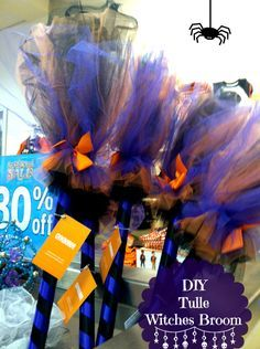 DIY Custom Gymboree Copycat Witches Tulle Broom (if making a lot use pvc pipe instead of a wooden dowel to save on cost)