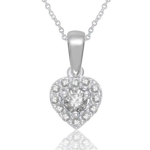10 white gold heart shaped pendant with 1/4 ct.tw diamonds,