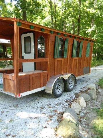 This is a lightweight Woolywagon Tiny House on Wheels. It's built using aluminum framing to reduce weight (so you tow with a half ton truck or large SUV). Currently it's for sale and lo…