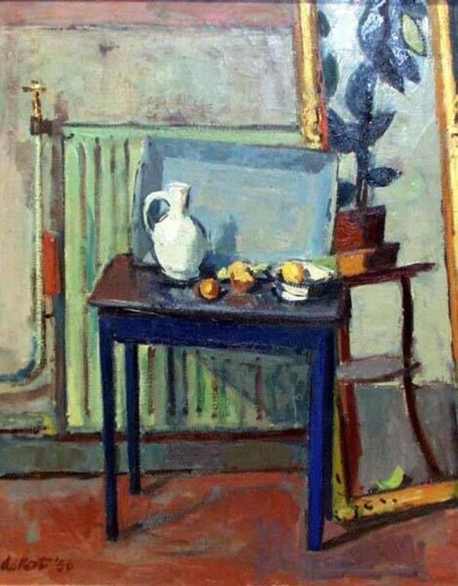 'De blauwe Tafel','The blue Table', 1956 - by Otto B. de Kat I Oil on canvas I Frans Hals Museum, Haarlem, Netherlands.