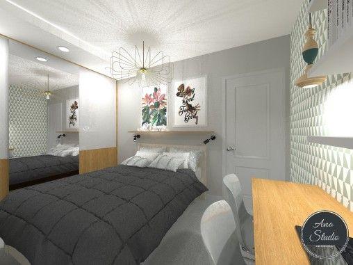 Mała sypialnia w bloku w której musiała zaistnieć zarówno szafa jak i biurko przy którym mogłyby czasem pracować dwie osoby. Ano Studio - Architekt Wnętrz - Projektant wnętrz - projekty mieszkań, domów, przestrzeni użyteczności publicznej. Mińsk Mazowiecki , Warszawa i okolice.