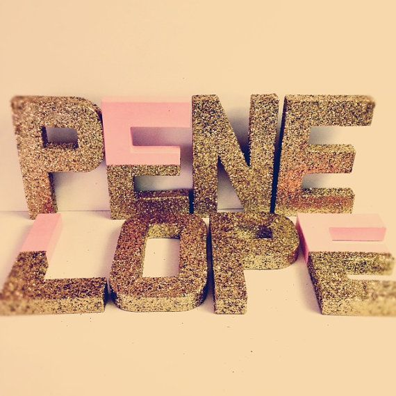 Gold Glitter Letters Pink and gold self standing by Ajobebe