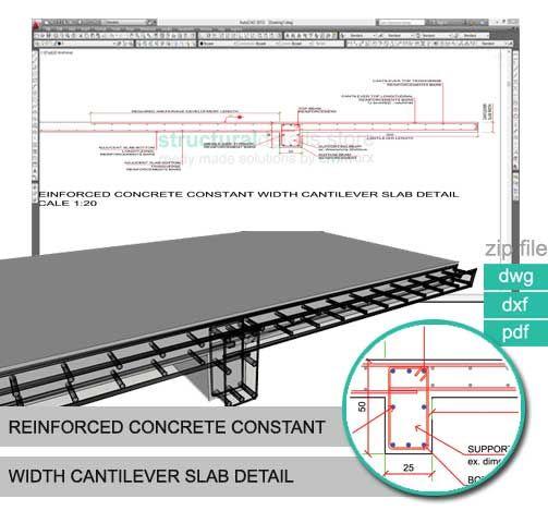 Reinforced Concrete Slab : Reinforced concrete constant width cantilever slab detail