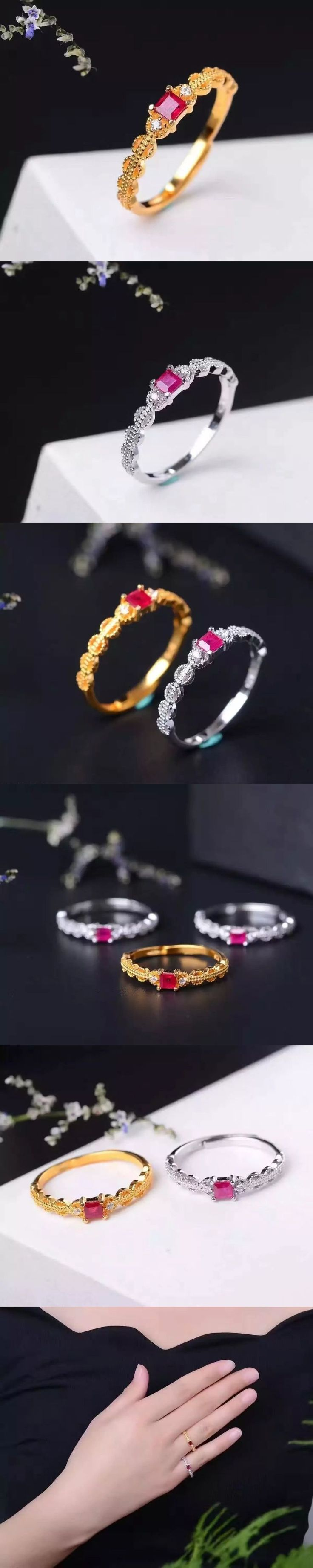 925 sterling natural Ruby rings opening ring fashion gifts for Wedding Gift Fine Jewelry Playful style j030301agh #fashionjewelry