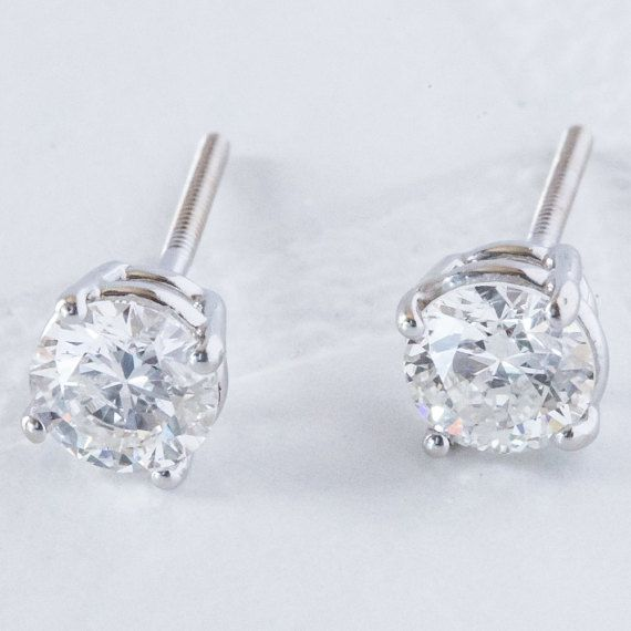 1.18 Carat Diamond Earrings in White Gold  White by AnuevaJewelry
