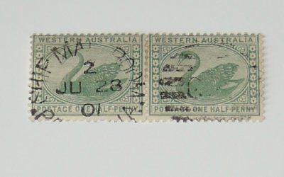 Stamp Pickers Western Australia Ship Mail Room Swan Pair 1/2d Scott #58 VF