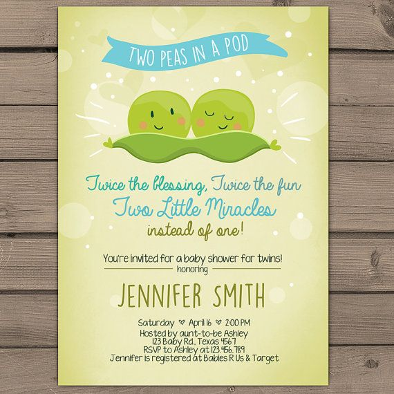 Twin Baby Shower Invitation Two Peas In A Pod by Anietillustration