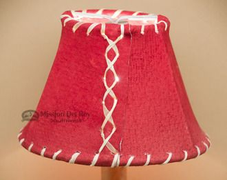 "Western Leather Chandelier Lamp Shade - 6"""" Red Pig Skin"