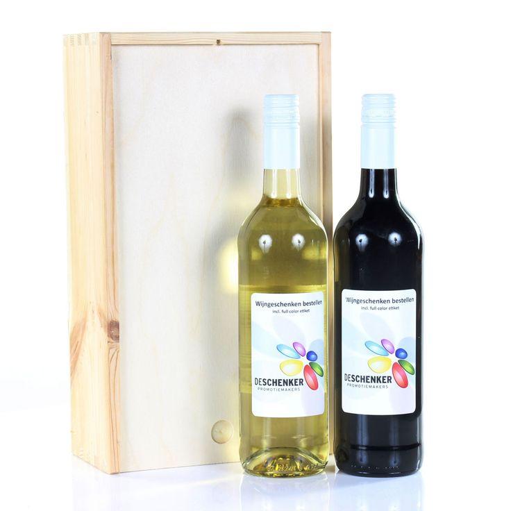 Wijnkist-2-vaks | Wijn met logo | Kerst-gift.nl