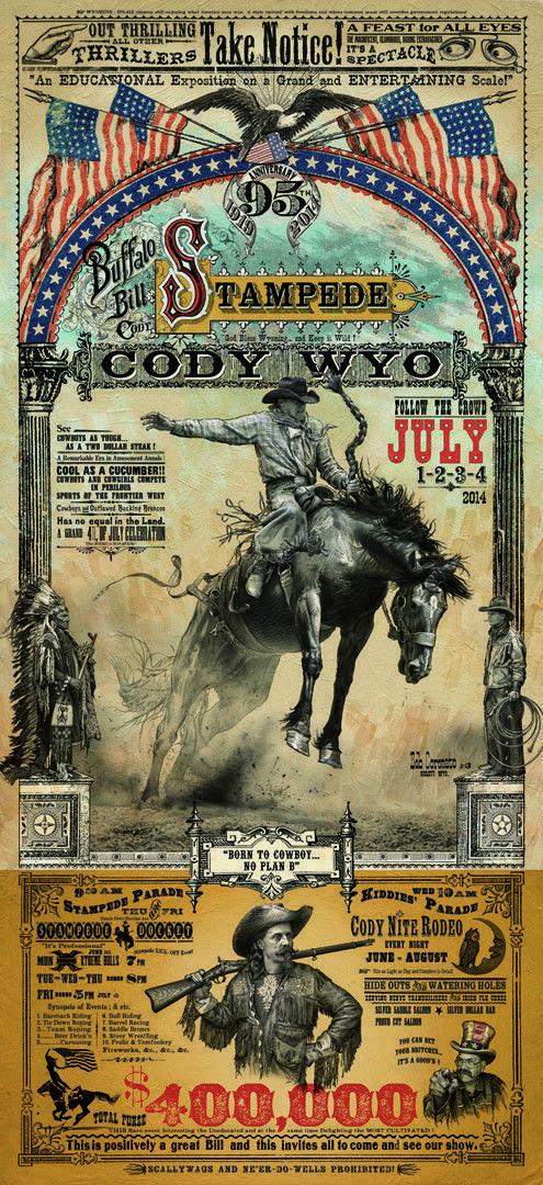 9fc14092cc3 Cody Wyoming Buffalo Bill Stampede Rodeo Western Poster by Bob Coronato