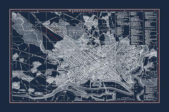 Washington DC Map Washington dc Print by WaterColorMaps2 on Etsy