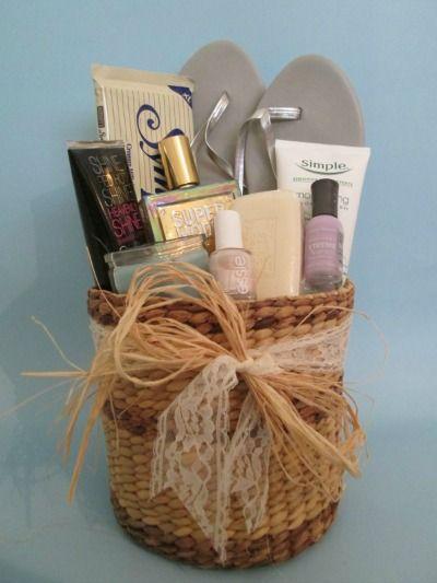Bridesmaid gift basket.  I like the idea of the flip flops :)