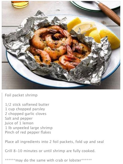 Foil Packet Shrimp (less butter to be healthier)