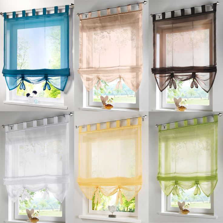 Sheer Tab Top  Voile Roman Blind Liftable Curtain Draps