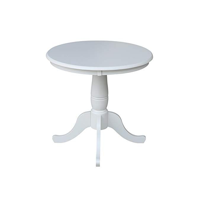 International Concepts 30 Inch Round By 30 Inch High Top Ped Table Linen White Review Dining Table Pedestal Table Pedestal Dining Table
