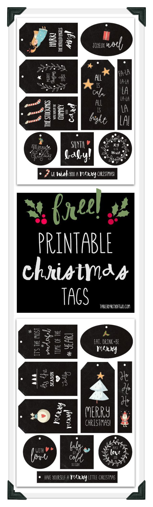 FREE Christmas printable gift tags! Two sets of tags that will look adorable tied to gifts with baker's twine! | Tabler Party Of Two | http://www.TablerPartyofTwo.com
