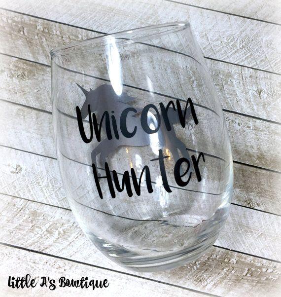 Unicorn Hunter wine glass Unicorn Unicorn by LittleAsBowtique