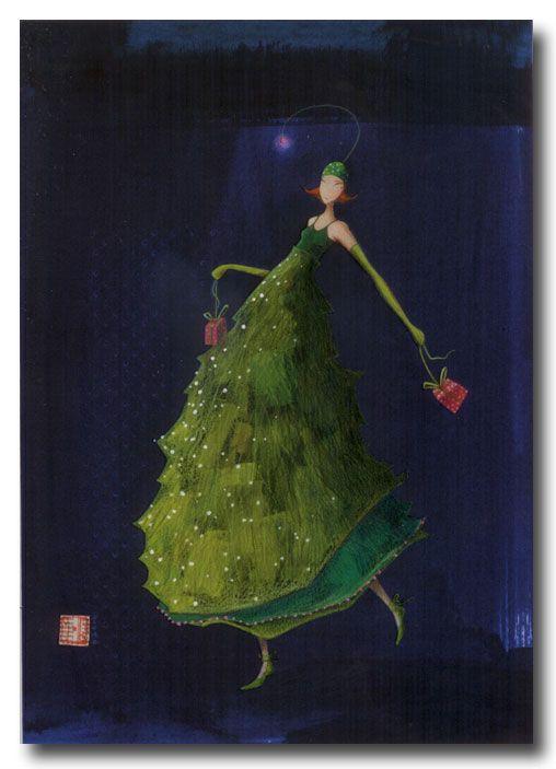 CARTES D'ART > BOISSONNARD Gaëlle > CARTES DOUBLES 12x17cm > BOISSONNARD La robe sapin verte - e-mages - La carterie d art
