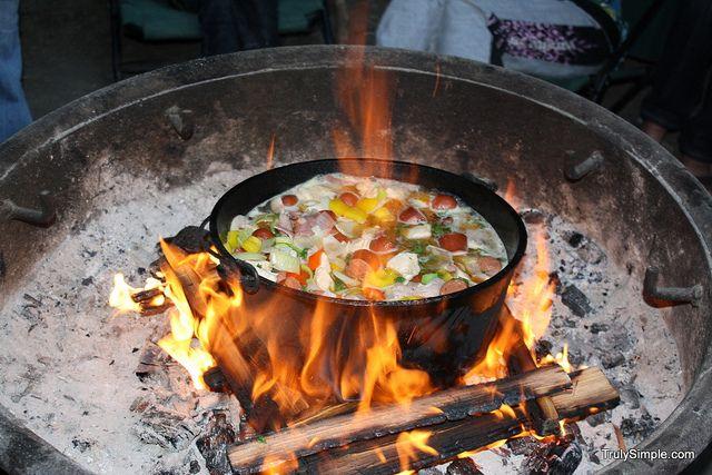 Jambalaya over a camp fire--sounds delicious!