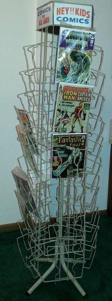 Comic Book Spinner Metal Display Rack Vtg Old Antique Holds Marvel Dc