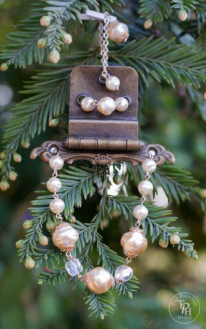 Fabulous Repurposed  Vintage Hinge & Jewelry Christmas Ornament #ThePaintedHinge #VintageCharm7